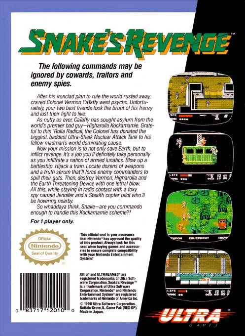 Snake's Revenge - Back of the Box